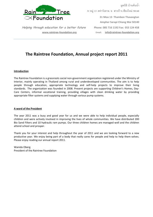Annual Report with Financial Statement 2011